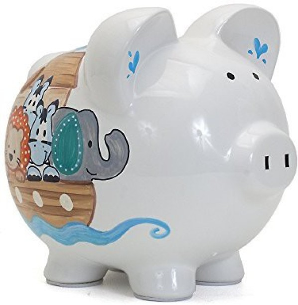 Child To Cherish Ceramic Piggy Bank For Boys, NoahS Ark Coin Bank