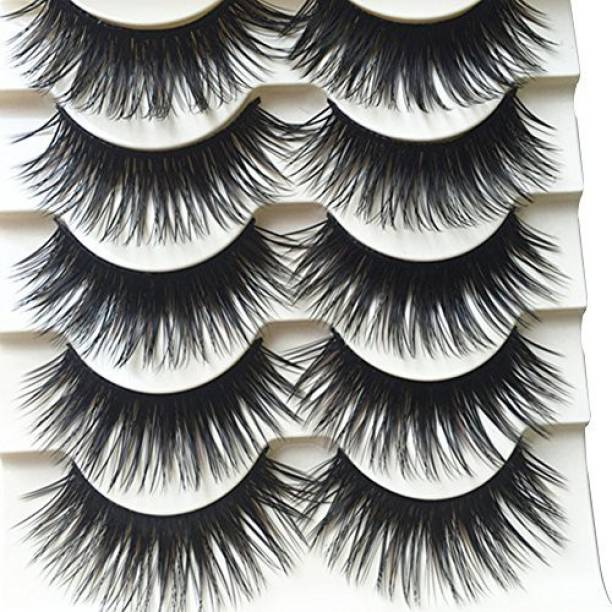 9f1fe7367ea Bluelans 5 Pairs Long Thick Cross False Eyelashes Natural Brown Eye Lashes  Handmade Makeup