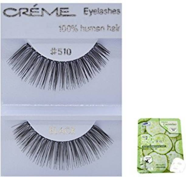 0338ce5261d Creme 12 Pairs 100 Human Hair Black Natural False Eyelashes Dozen Pack 510