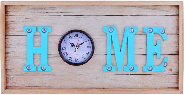 ARCHIES Wall clock design decorative in MDF wood for craft with led lights for decoration, table/wall d�cor, trending products for multipurpose occasion gifts with blue �HOME� laser cut outs & quartz crystal roman number clock, art piece d�cor living room accessories set
