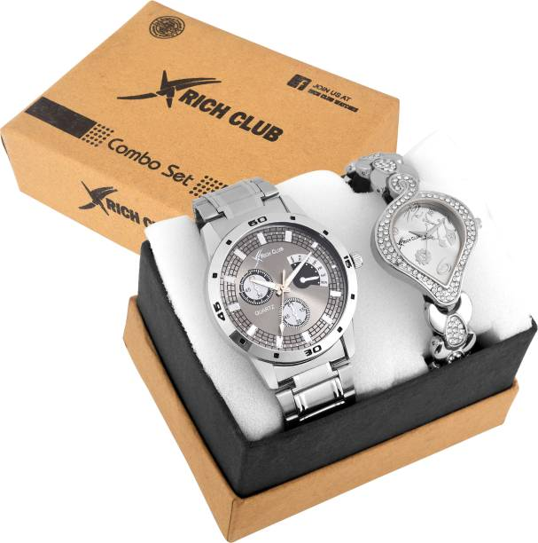 57ad1373ae2 Rich Club Combo of 2 Exclusive Silver High Quality Couple  (27GREY+SVMSILVER) Analog