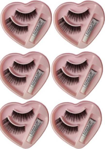 Shopeleven Premium False Eyelashes With Glue Black (Combo Of 6)