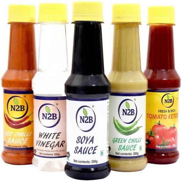 N2B Tomato Ketchup, Red Chilli-Sauce, SOYA-Sauce, Green-Chilli Sauce, White Vinegar - 200g Each, Combo 05 Combo