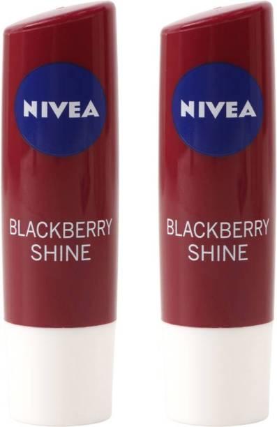 NIVEA BLACKBERRY SHINE Lip Balm (Pack of 2) BLACKBERRY