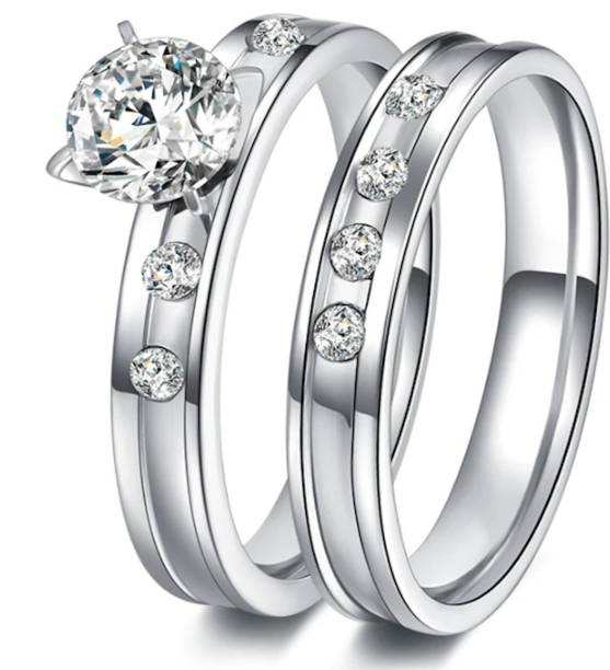 b72ed8224d osw jewel Stainless Steel Wedding Ring For Lovers IP SILVER Color Crystal CZ  Couple Rings Set