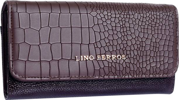LINO PERROS Women Evening/Party Brown Artificial Leather Wallet