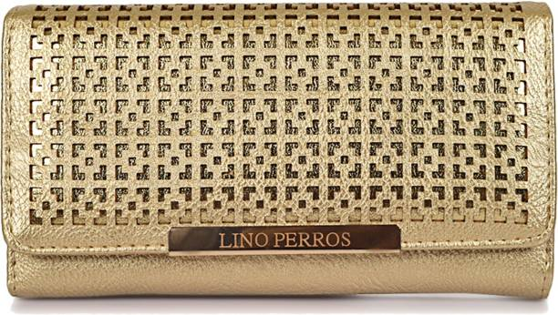LINO PERROS Women Evening/Party Gold Artificial Leather Wallet