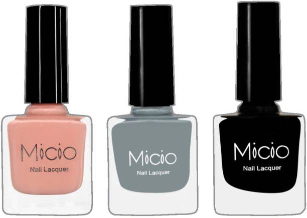 MICIO Luxurious Collection of Glossy Nail Lacquer (Nude Elegance, Ash Grey, Sinful Black)