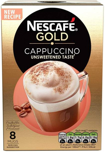 Nescafe GOLD Cappuccino Unsweetened Coffee, 8 Sachets Instant Coffee
