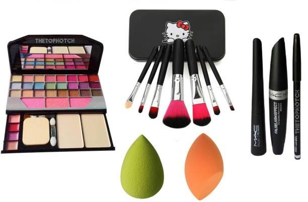 0da53ddfa TheTopNotch Makeup Kit 6155 & Hello Kitty Brush Set Black & MAC EyeLiner  Kajal Mascara (