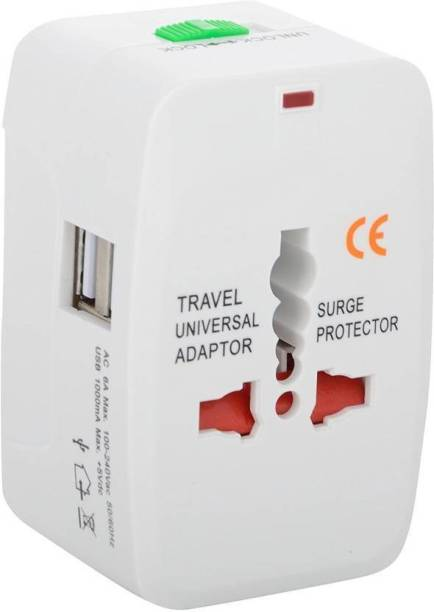 spincart Universal Adapter Worldwide Travel Adapter with Built in Dual USB Charger Ports Worldwide Adaptor
