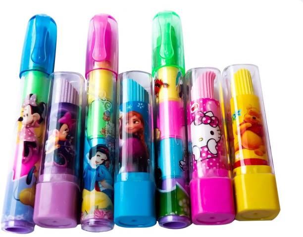 ShopTop LIPSTICK & pen Shaped Eraser 7 pcs Non-Toxic Eraser