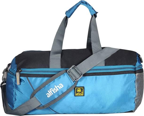 b7e9ee707be7 ALFISHA (Expandable) Lightweight Waterproof 26 Ltrs Sky Blue Duffel Gym Bag  Backpack with Zip