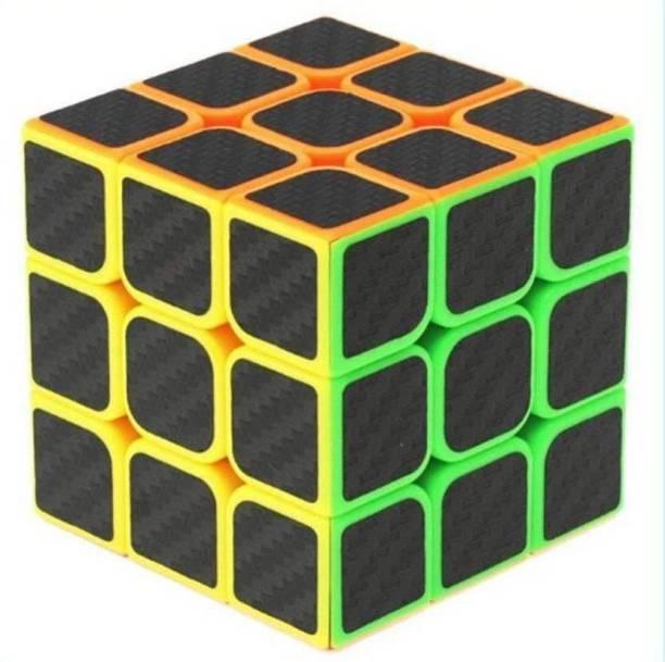Metro High Speed Carbon Fiber Sticker 3x3 Neon Colors Magic Cube Puzzle Toy (5.5cm) (1 Pieces)