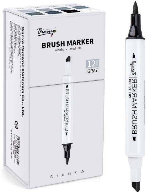 Bianyo Cool Greys Art Marker Pens- Dual Tip Permanent Markers for Drawing, Shading, Outlining, Illustrating, Sketching, Colorless Blender, 12-Colors