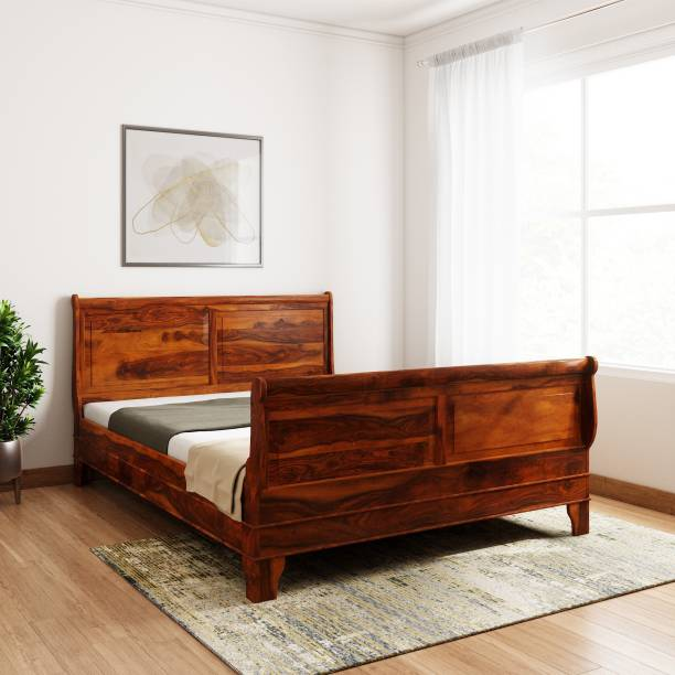 Balaji Wooden Sheesham Wood Solid Wood Queen Bed