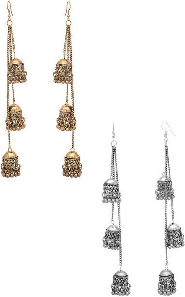 4f98a1d11 Karatcart Karatcart Combo of Two Kashmiri Tribal Oxidised Fashion German  Multiple Jhumki Long Earrings For Women