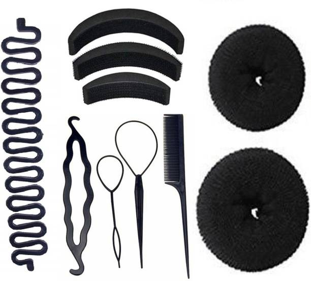 JAGTEK Hair Accessories set of 10pcs / 4 pcs braid tool , 2 pcs hair donut bun maker , 3 pcs hair volumizer , 1 pcs braid tools Hair Accessory Set
