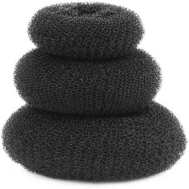 PARAM Hair Donut Pack of 3 | All 3 different sizes (Black) Bun (Black) Bun