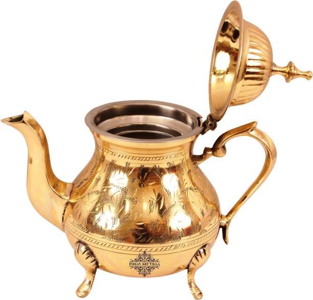 IndianArtVilla 0.65 L Kettle Brass Tea Pot with Strainer Jug