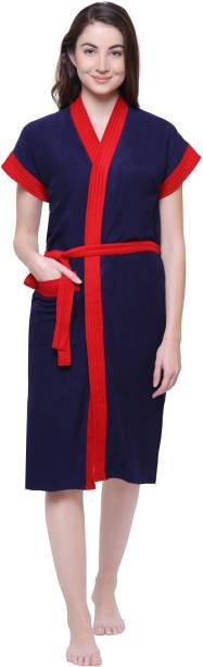Secret Wish Navy Blue Free Size Bath Robe