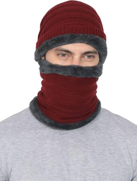 ec1d5c80d31 FabSeasons Unisex Acrylic Woolen combo of Beanie   Skull Cap   Muffler for  winters with faux