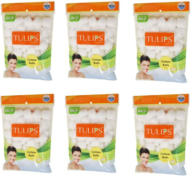 Tulips 50 White Cotton Balls in a Ziplock Bag (pack of 6)