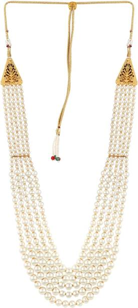 d987ea7a07 Adwitiya Collection Adwitiya Up To Fashion White- Coloured Long Necklace  set Pearl Gold-plated