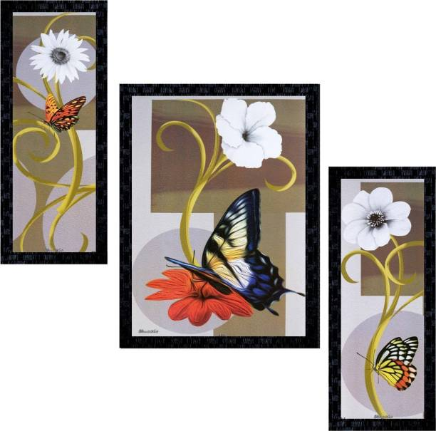 Janki Online Set Of 3 Flowers Modern Art Gl Framed Wall Painting For Home Office And