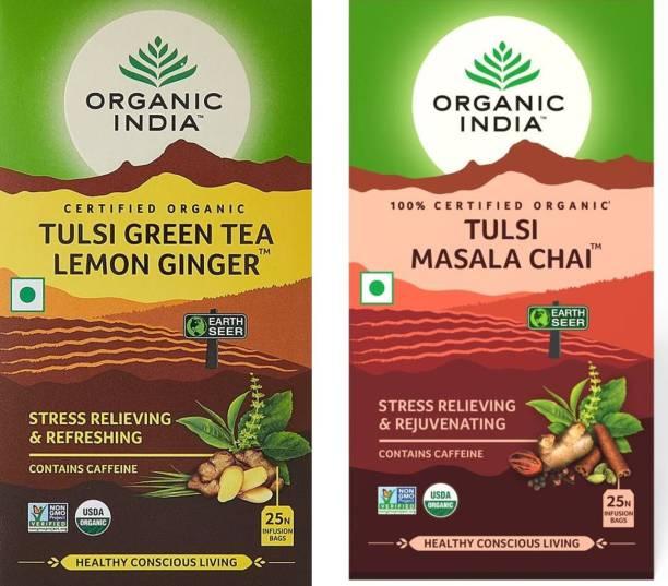 ORGANIC INDIA Tulsi Green Tea Lemon Ginger 25 Tea Bags & Tulsi Masala Chai 25 Tea Bag Tulsi Tea Bags Box