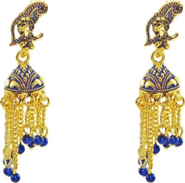 4019cfe7f Anish Traditional Golden Blue Peacock Stylish Jhalar Jhumki for women and  girls Beads Alloy Jhumki Earring