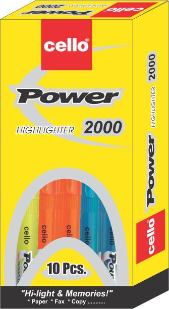 cello Power Line Highlighter - Pack of 10 (Assorted)