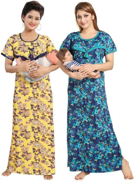 28af704822a18 Printed Half Half Night Dress Nighties - Buy Printed Half Half Night ...