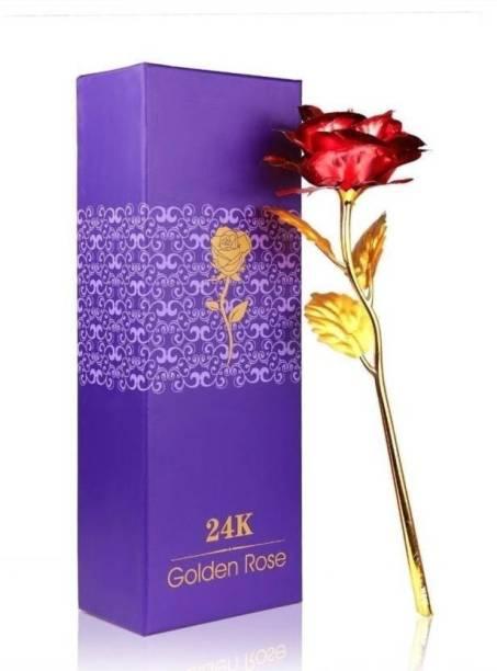 Rangoli Genuine Gold Red Rose Gold Rose Artificial Flower