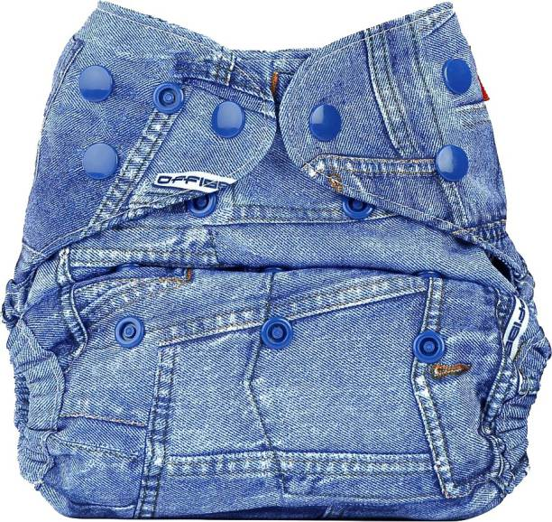 bumberry Baby Denim Print Sleeper Diaper for Night Adjustable Size Washable with Attached 2 Wet Free Inserts (3-36 Months)