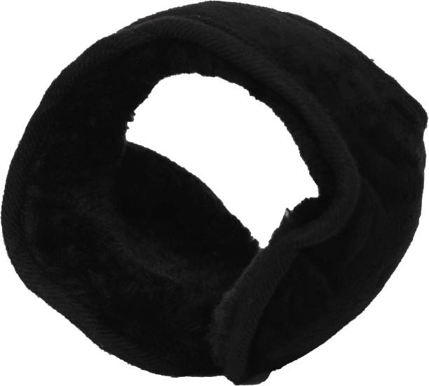 FabSeasons Black Headwear Faux Fur Ear Muffs / Ear Warmers - Behind The Head Style Winter Earmuffs for Men & Women Ear Muff