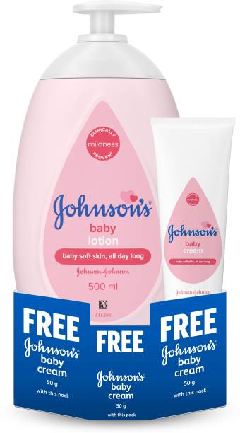 Johnson's Baby Lotion 500ml with Baby Cream 50 ml Free