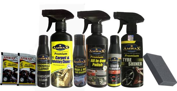 amwax Tyre Shiner 250 ML, All In One Polish 250 ML, Carpet & Upholstery Cleaner 250 ML, Wash & Wax 50 ML, Scratch Remover 50 ML, WindShield Cleaner 50 ML, Dashboard Polish 10 ML x 2 Pouch, Sponge Combo