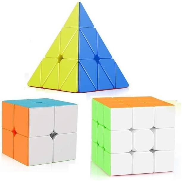 Authfort Stickerless Speed Cube Set, 2x2 - 3x3 - Pyramid Magic Cube Puzzle Toys