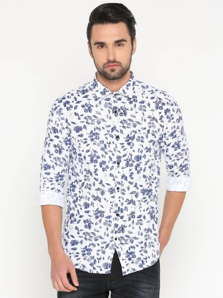 82fc058e Showoff Men's Floral Print Casual White Shirt
