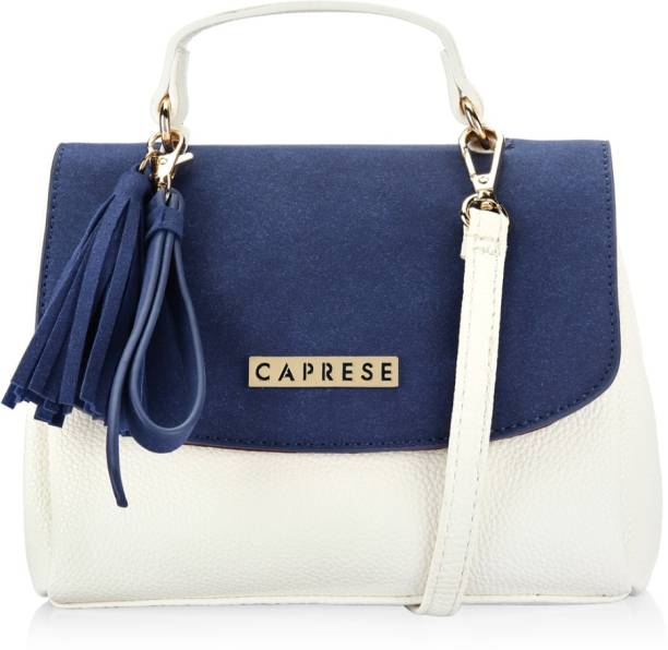 Caprese Women Casual Blue White Pu Sling Bag