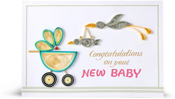 Swapnil Arts Handmade 3D Paper Quilling New Born Baby Wishes Greeting Card