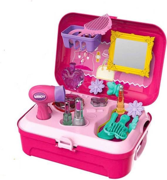 cd2bcf1b97873 TALKING GANESHA 21 Pcs Pretend Play Salon Beauty Make Up Kit Play Set  Backpack Toy For