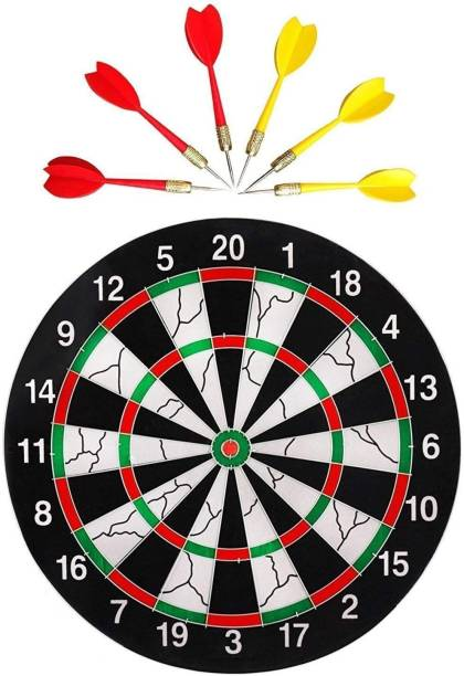 KT BROTHERS 17 inch Double Faced Flock Printing Thickening Family Game Dart Board with 6 Needle (17 x 17-inch) Dart Board Board Game