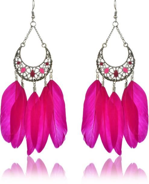 Divastri Clic Beauty Pink Swan Feather Tel Earrings Metal Earring