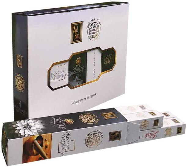 Zed Black Golden Myst Premium Incense Sticks Pack of 6 with 4 Different Fragrances in Each Pack - Natural Incense Sticks (24 Packets Inside) The Sacred Circle, Divine Yoga, Pristine Ayurveda, Lotus Feet