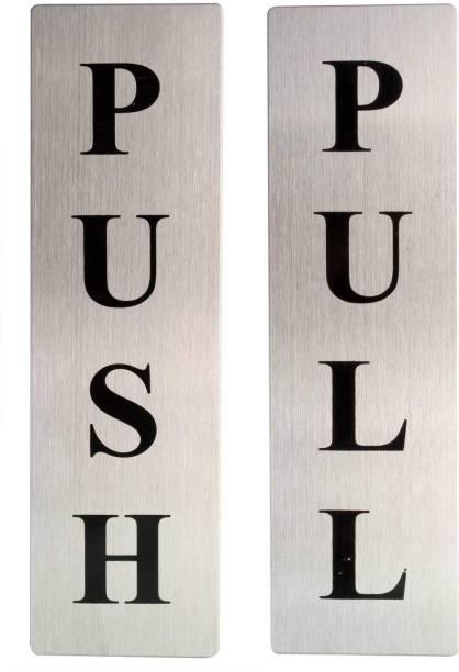 DEZIINE Self Adhesive Stainless Steel Push & Pull Metal Door Signage Board Combo  Office Set