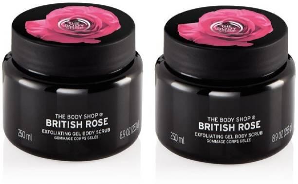 THE BODY SHOP British Rose Exfoliating Gel Body Scrub 250ml Set Of Two 2 In 1 Scrub