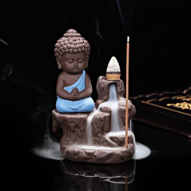 AapnoCrafts Maditating Monk Buddha Smoke Back flow Cone Incense Holder- With 10 Free Incence Cones Decorative Showpiece  -  12 cm