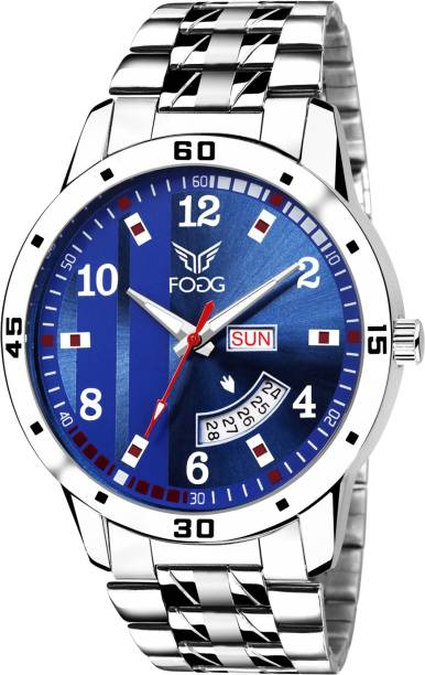 Fogg 2058-BL Printed Blue Day and Date Watch - For Men